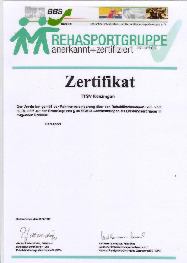 Zertifikat Koronarsport