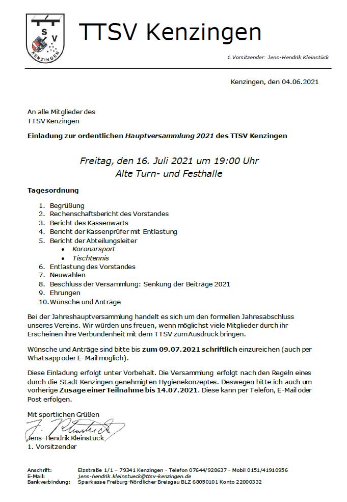 Einladung zur Jahreshauptversammlung 2021
